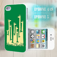 unique iphone case, i phone 4 4s 5 case,cool cute iphone4 iphone4s 5 case,stylish plastic rubber cases cover, green giraffe animal  p993