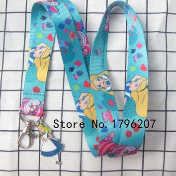 1PCS  Cartoon Alice Wonderland Princess  Pendant  Neck Strap Lanyard Mobile Phone Charms Key Chain ID Badge Key Chains LT-22