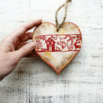 Scandi heart ornament Christmas ornament Scandinavian Christmas decoration rustic cottage chic shabby chic red white brown