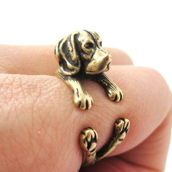 Realistic Beagle Puppy Shaped Animal Wrap Ring in Brass | Sizes 4 to 8.5