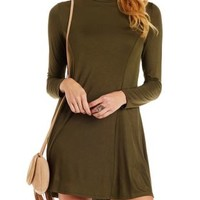 Olive Jersey Knit Turtleneck Shift Dress by Charlotte Russe