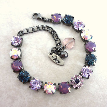 Sabika inspired Swarovski crystal tennis bracelet, cyclamen opals and violet, GREAT PRICE