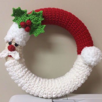 Crochet Santa Wreath Tutorial - Santa Decoration - Winter Wreath - crochet pattern - pdf -
