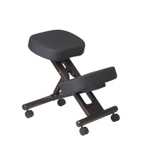 Office Star Ergonomically Designed Espresso Finished Wood Knee Chair Featuring Memory Foam and Coal Fabric with Dual Wheel Carpet Casters [KCW778]