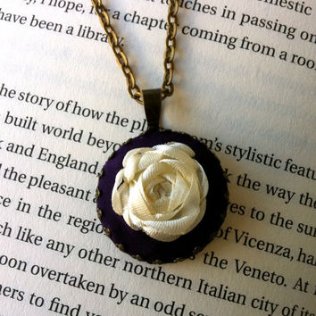 Handmade Silk Ribbon Embroidered Purple Pendant - Handmade by BeanTown Embroidery