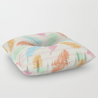 Dancing summer feathers Floor Pillow by juliagrifoldesigns
