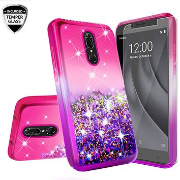 Nokia 3.1 Plus Case Liquid Glitter Phone Case Waterfall Floating Quicksand Bling Sparkle Cute Protective Girls Women Cover for Nokia 3.1 Plus W/Temper Glass - (Hot Pink/Purple Gradient)
