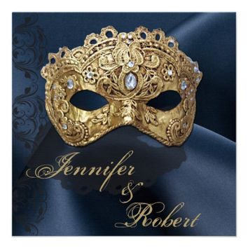 Navy and Gold Masquerade Wedding Invitation from Zazzle.com