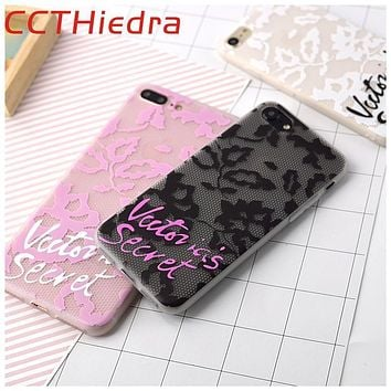 Victoria Lace Case For iPhone 7 7 Plus secret Letter Cover Case For iPhone 6 6S Plus Soft TPU Matte Cases phone Back Cover