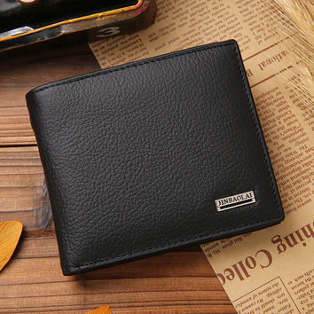 Men's wallet short soft cowhide leather wallet purse