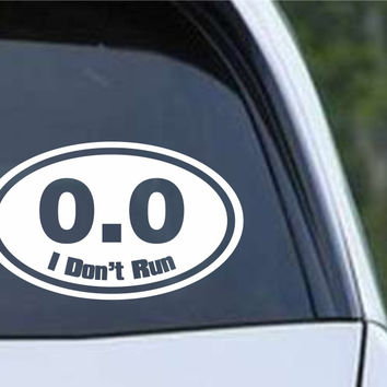 0.0 Funny Marathon Running Euro Oval Die Cut Vinyl Decal Sticker