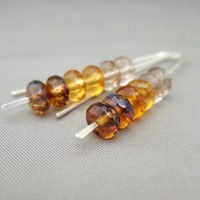 Amber Ombre Earrings. Czech Glass and Sterling Silver Ombre Earrings. | The Silver Forge Handcrafted Jewellery