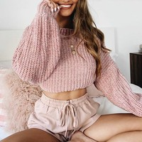 Popular long-sleeved short style loose and lazy women's sweater