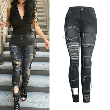 Winter Pencil Pants Stretch Slim Ripped Holes Patchwork Skinny Pants [11474122255]