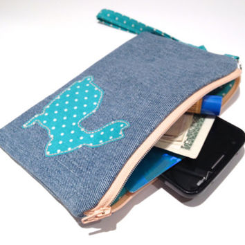 Zippered  Bunny Denim Wristlet