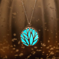 Aqua Circle Glow Necklace - Glow in the Dark Necklace - The Circle of Nature  - Glowing Jewelry - Mother's Day - Gifts for Her