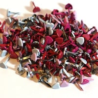 50 Valentine Heart Metal Paper Brads for Scrapbooking and Cardmaking, paper crafting - pink red white - scrapbook embellishments