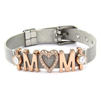 STYLEDOME Keeper Stainless Steel Mesh Keeper Bracelets Bangles Crystal Love MOM Heart Slide Charms Bracelets for Mothers Day Gifts