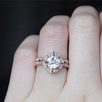Cushion Morganite Ring Set Solid 14K Rose Gold  Morganite Engagement Ring Set Wedding Ring Set Bridal Ring Set  Anniversary Ring