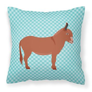 Irish Donkey Blue Check Fabric Decorative Pillow BB8022PW1818