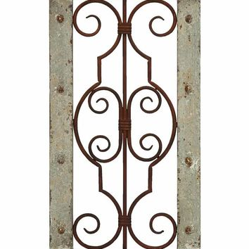 Vintage Ruggedness Antique Wooden and Metal Wall Panel
