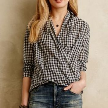 Draped Gingham Buttondown