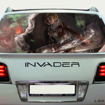 Perfik293 Full Color Print Perforated Film Truck SUV Back Window Sticker Attack on Titan