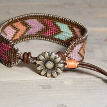 Brown and Colorful Arrow Loom Woven Friendship Bracelet, Ready to Ship