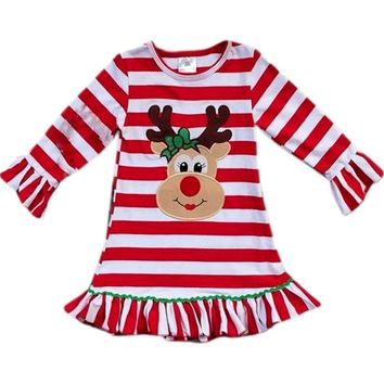 Girls Striped Reindeer Dress, Red Multi