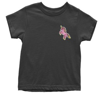 Embroidered Standing Pink Unicorn Patch (Pocket Print) Youth T-shirt
