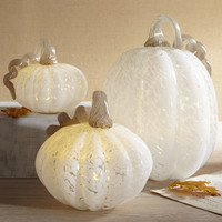 Cream LED Glass Pumpkins