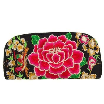Embroidered Floral Clutch Bag