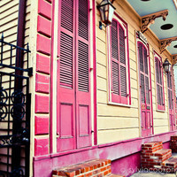 """New Orleans Photograph, """"Colorful houses"""" Travel Photography, Colorful Pastel Houses, French Quarter"""