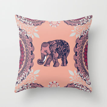 Bohemian Elephant  Throw Pillow by rskinner1122