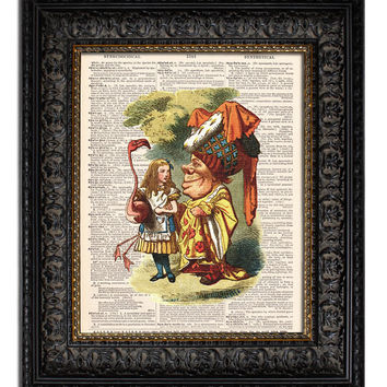 ALICE IN WONDERLAND - FLAMINGO & QUEEN Dictionary Art Print