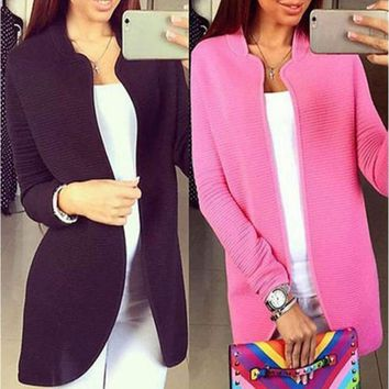 Open Stitch Knitted Women Blazer Cardigan