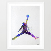 Michael Jordan Watercolor illustration Art Print,Wall Art Poster,Home Decor,Wall Hanging,Kids Play Room,Birthday Gift,Basketball Art, #310