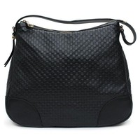 DCCKUG3 Gucci Bree Guccissima Leather Hobo Bag Black New