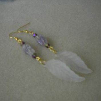 White Leaf Earrings by IllusionsbyDonna on Zibbet