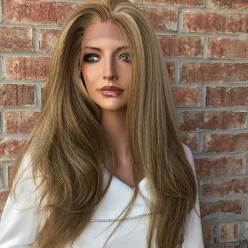 Connie Balayage Straight Textured Human Hair Blend Multi Parting  Lace Front Wig 22""