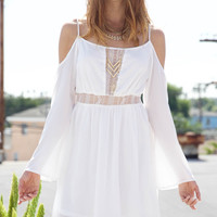 Hipster Lace Off Shoulder Dress - White