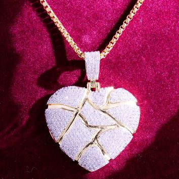 New Designer Iced Out Broken Heart Custom Pendant