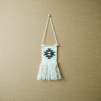 CAR Hand Woven and Macrame Navajo Weaving Wall Hanging in Grey (car accessory)