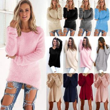 Women's Loose Knitted Sweater Casual Long Sleeve Pullover Jumper Tops Knitwear
