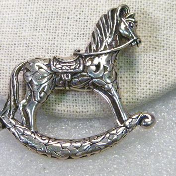 "Vintage Sterling Silver Rocking Horse Brooch, 2"" wide, scolled/filigree design, 10.75 grams"