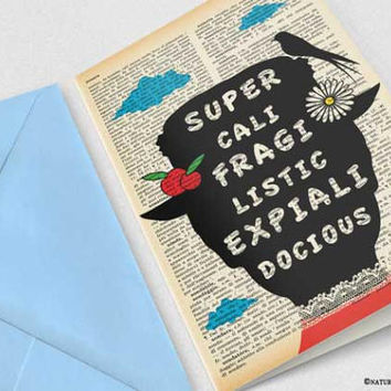 Supercalifragilisticexpialidocious Mary Poppins Card-funny card-Poppins Invitation card-Stationery card-Mary Poppins-by NATURA PICTA-NPGC103
