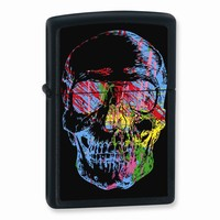 Zippo Skull Black Matte Lighter - Engravable Personalized Gift Item