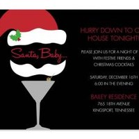 CHRISTMAS COCKTAIL INVITATIONS, SANTA BABY