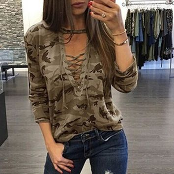 Long Sleeve Tops Hot Sale Sexy Camouflage V-neck T-shirts [10710153351]