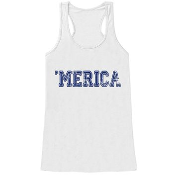 Merica Tank Top - Blue 'Merica Fourth of July Tank - Women's 4th of July Tank Top - White Tank - Fourth of July Shirt - American Pride Top